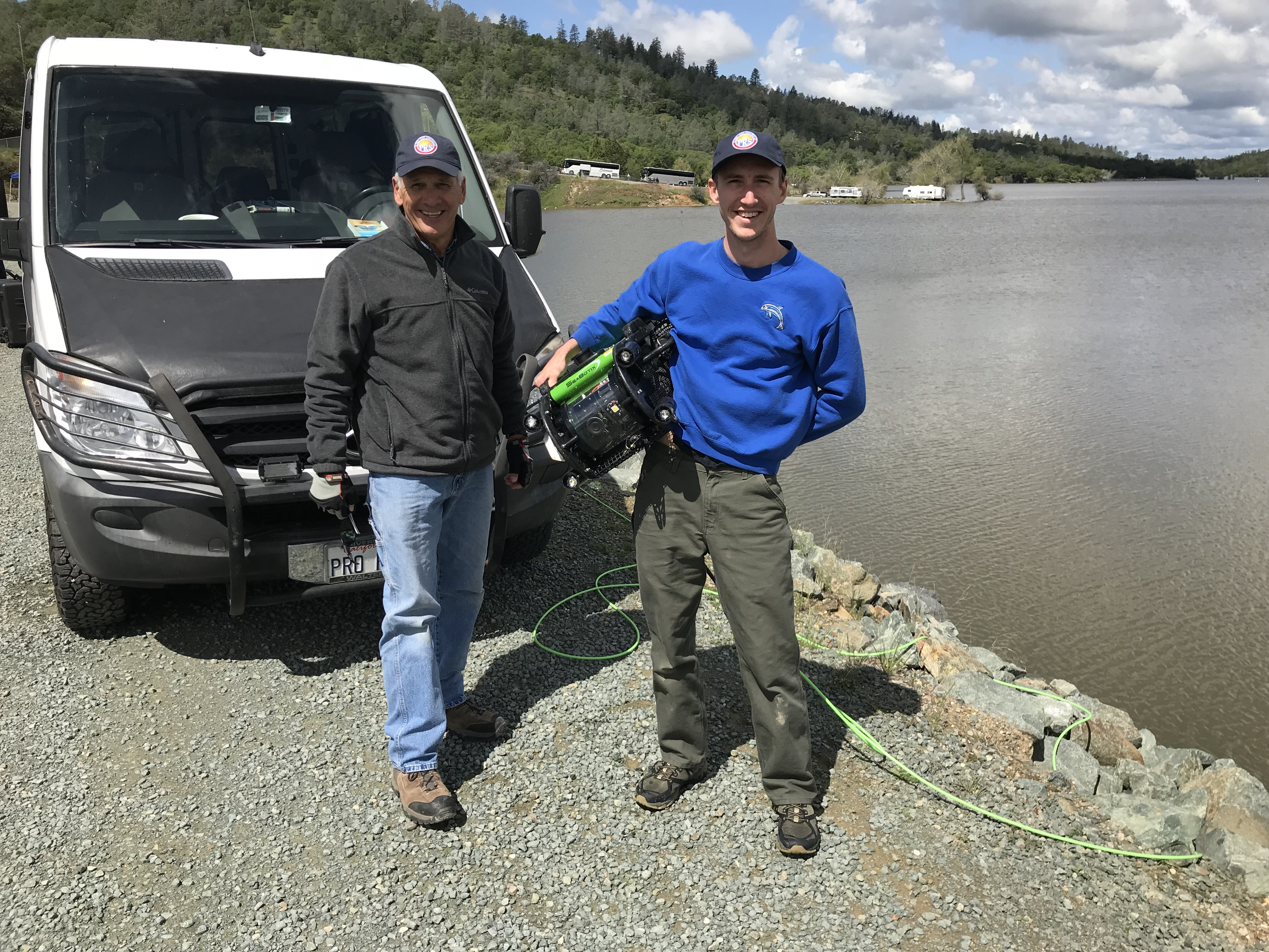 Mark Stepanik and his son with Underwater ROV