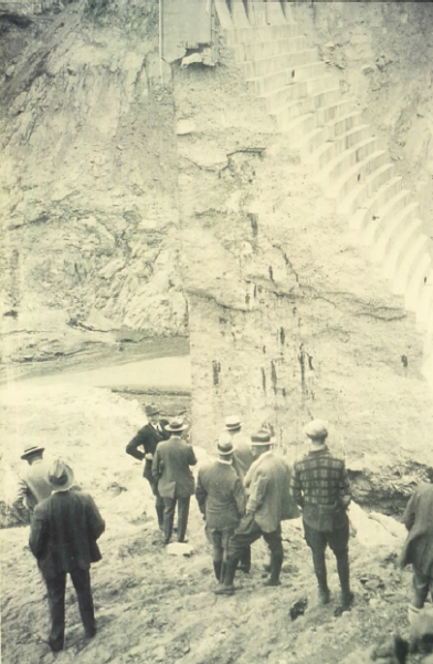A group of professionals assessing the St. Francis Dam remains after being selected by Governor C.C. Young to investigate the failure.