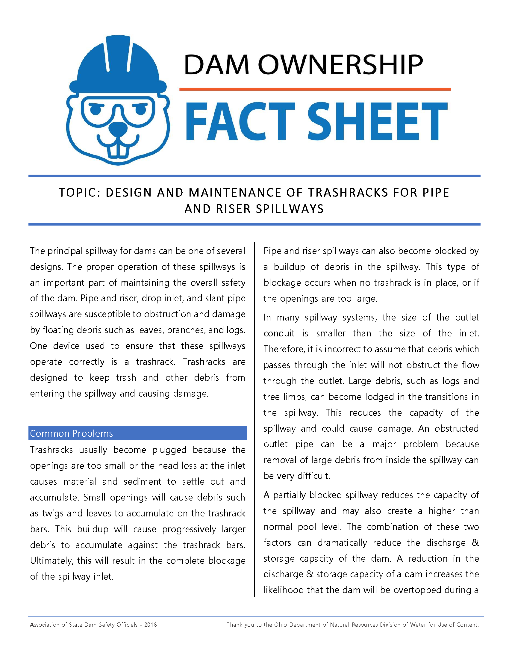 Design and Maintenance of Trash Racks Fact Sheet 2018_Page_1.png